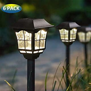 MoSolar 6 Pcs Solar Powered LED Outdoor Pathway Lights, Landscape Path Lights, Automatic Led for Patio, Yard, Garden and Christmas Decorations
