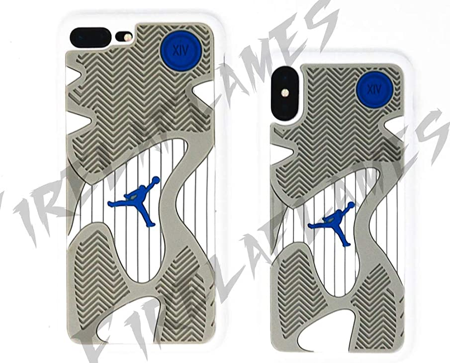 Jordan Inspired iPhone Case | Cover I Phone X 7 8 Plus | Jordan Retro Jumpman Supreme (Retro 14-White, iPhone 7/8 Plus)