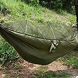 SOULONG Amaca da Campeggio con Zanzariera Portatile Ultraleggero, Amaca Outdoor Paracadute Nylon Portata Massima 300 kg per Escursionismo Backpacking Viaggi, per 2 Persone(Verde)