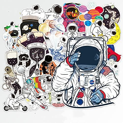 BUCUO Etiqueta engomada de la Personalidad de la Historieta del Astronauta Cosmic Spaceman Equipaje Maleta Cuaderno Impermeable y sin Rastro 36 Uds