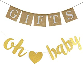 Gold Glitter Letters Oh Baby Banner Rustic Burlap Gift Banners Sign Baby Shower Banner For Baby Shower Engagement Wedding Bridal Shower Bachelorette Retirement Birthday Party Supplies Decorations