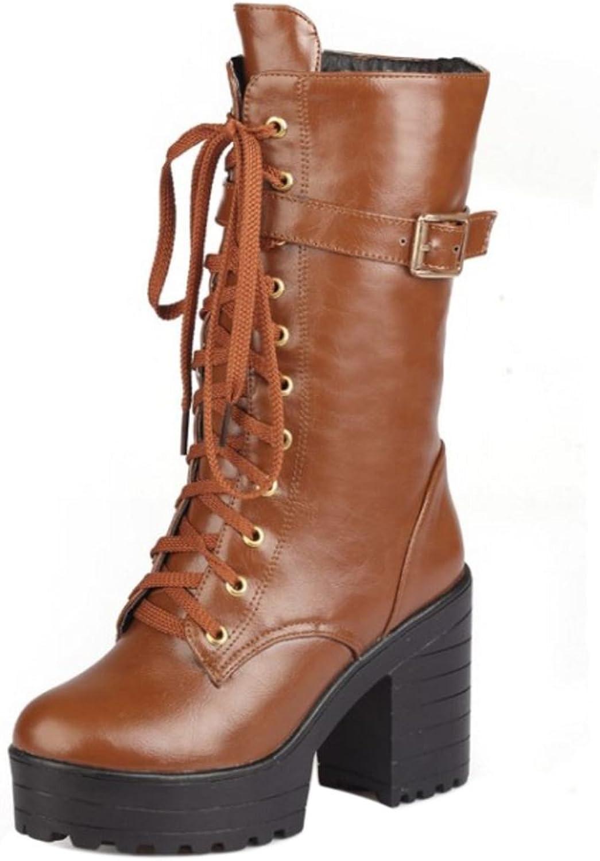 KemeKiss Women Boots Zipper Chunky Sole