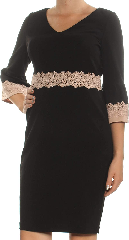 Sangria Women's Petite Lace-Trim Sheath Dress