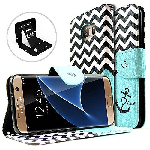 Redshield Klappetui für Samsung Galaxy S7 Edge, Mintgrün/Weiß, Chevron-Streifen, Ständer, luxuriöses Kunst-Saffiano-Leder mit integrierten Kartenfächern, magnetischer Klappe für Samsung Galaxy S7 Edge