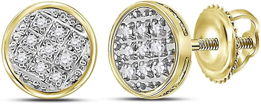 Saris and Things 10kt Yellow Gold Mens Round Diamond Circle Cluster Stud Earrings 1/20 Cttw