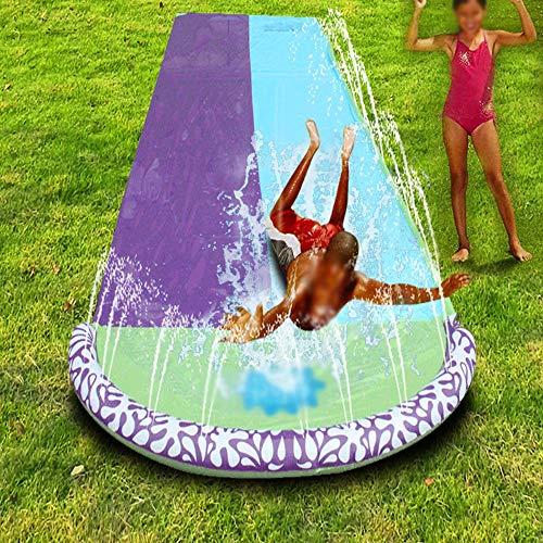 BZLLW Tobogán de Agua, de Doble corredera Agua Silp pulverización y Crash Pad for niños del Patio Trasero Piscina de Juegos, Juguete del Verano for el Aire Libre