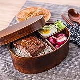 Brotdose Lunchbox mit Trennwand Kinder Erwachsene Bento Box Japanische Style Holz Food Box...