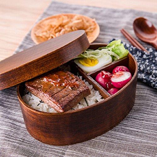 Fiambrera almuerzo caja con separador Niños Adultos Bento Box japonés Style Madera Food Caja comida Contenedor Recipiente de almacenamiento para guarderías, escuela, cocina, oficina, picnic