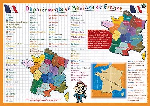 Editions Aris - Mantel Individual Educativo, diseño con mapas de Las regiones y provincias de Francia, Textos en francés