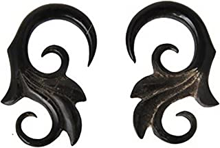 Sold In Pair NOG-237 Horn Ear Plug With Moon Face Bone Inlay Organic Body Piercing Jewelry Gauges 0g 8mm