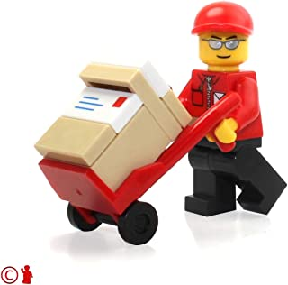 LEGO City Minifigure: Post Office Mail Delivery Man (with Handtruck and Packages) 7732