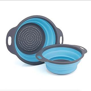GCBTECH Opvouwbaar vergiet met handvat, 2 stukken opvouwbare siliconen zeef Keuken camping accessoires, Giet pasta rijst g...