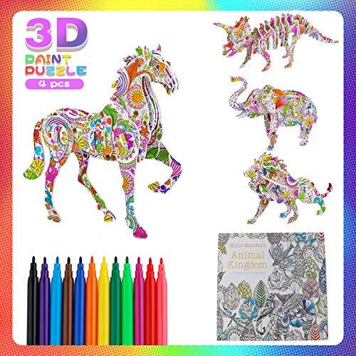 Rompecabezas para Colorear 3D, Juego de Arte y Manualidades de Rompecabezas para Colorear En 3D Libro de Colorear para Niñas y Niños (Paquete de 4 Rompecabezas con 12 Marcadores)