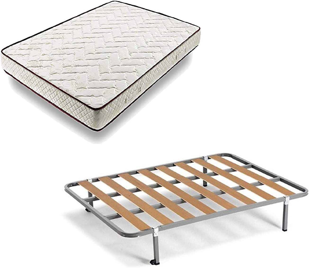 HOGAR24 ES Cama Completa - Colchón Flexitex + Somier Basic + 4 Patas de 32cm, 90x180 cm