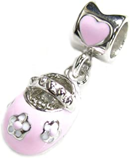 .925 Sterling Silver Lovely Little Baby Girl 3-D Shoe Pink Rose Bead for European Chamilia Biagi Troll Pandora Charm Brace...