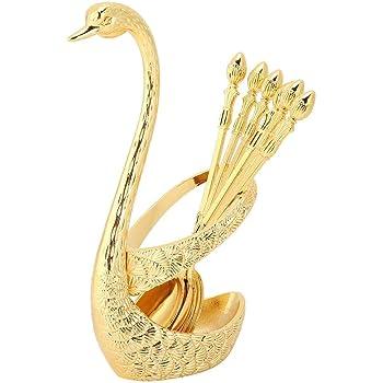 Cucharas de caf/é de 6 piezas cucharaditas de acero inoxidable con soporte de cuchara en forma de cisne para pastel de postre y helado de 5.1 pulgadas Oro