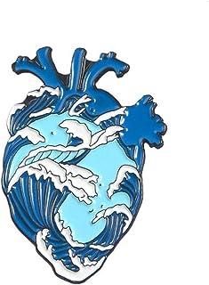 Angoter Cuore dello Smalto Lapel Pins Spille Distintivi Organo Ocean Waves Spilla per Abbigliamento Decoration