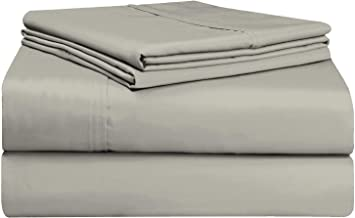 Pizuna Soft 500 Thread Count Double Sheets Set Silver, 100% Long Staple Cotton Hotel Quality Sheets, Silver Cotton Satin B...
