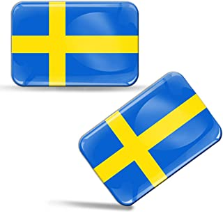 2 x 3D Domed Silicone Stickers Decals Sweden National Swedish Flag Car Motorcycle Helmet F 47