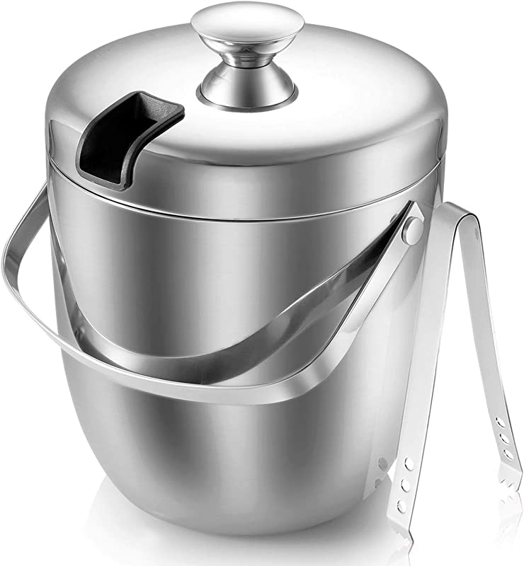 MALMO Insulated Ice Bucket Double Stainless Steel Wall With Lid And Ice Tongs 2 8L 2 7 Quart