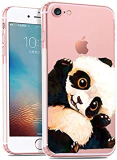 iPhone 7 Case,Lovely Animal Pattern on Soft TPU Silicone Protective Skin Ultra Slim & Clear with Art Design Gift Bumper Back Cover for iPhone 7,panda hi
