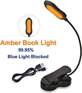 Rechargeable Book Light, Blue Light Blocking Amber Reading Light, Clip on Book Lamp, Eye Care Sleep Aid Lights, 3 Brightness Levels, for Kids, Bookworms