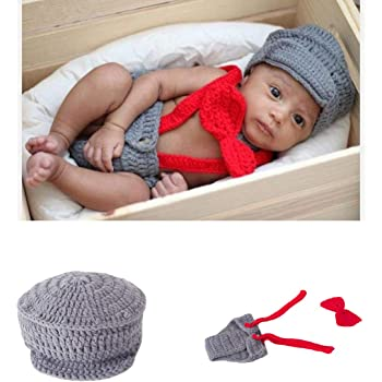Newborn Baby Boy Costume Crochet Outfits Photography Props Cap Beanie with Suspenders Bowtie Diaper (0- 12months)