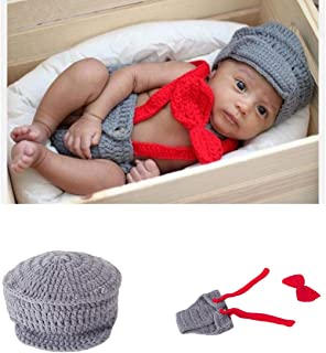 Newborn Baby Boy Costume Crochet Outfits Photography Props Cap Beanie with Suspenders Bowtie Diaper (0-12months)
