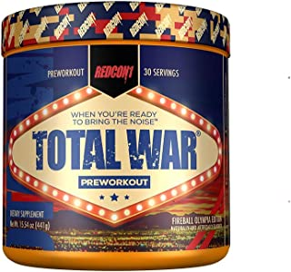 Redcon1 Total War - Limited Edition Line - Pre Workout, 30 Servings, Boost Energy, Increase Endurance and Focus (Olympia Fireball)