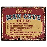 BOB'S MAN CAVE RULES Chic Tin Sign Vintage Look Retro Rustic 9'x 12' Metal Plate Store Home Man Cave Decor Gift Ideas