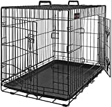 FEANDREAペットケージ 75×47×54cm 室内外兼用犬猫 トレー付き 折り畳み式 持ち手付き 移動便利 猫のゲージ NPPD30H