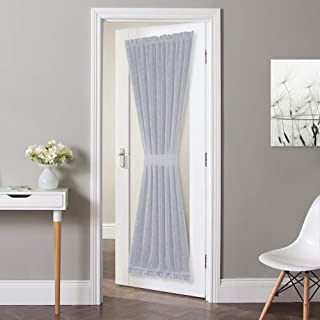 NICETOWN French Door Panel with Tieback - Linen Look Sheer Curtain Linen Textured Sheer French Door Panel with a Tieback (52 Width x 72 Length, Light Grey, 1 PC)