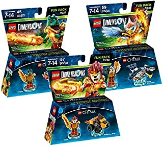 Lego Dimensions Chima Fun Pack Bundle of 3 - Eris Fun Pack (71232) Cragger Fun Pack (71223) Laval Fun Pack (71222)