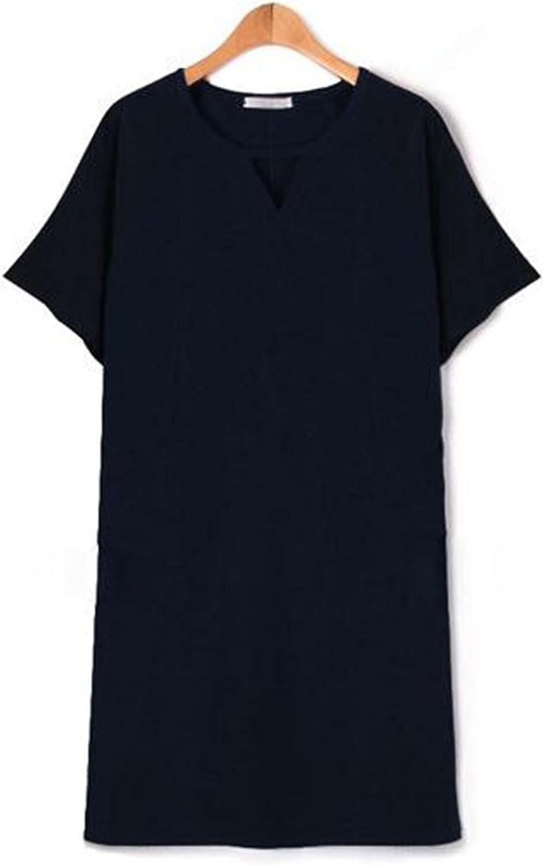 Unbekannt ZLL Kleider Plus Größe Frauen Kleider Kleider Kleider mit kurzen Ärmeln t Nähten locker einen Wort Rock, m B073PVG6GW  Nutzen Sie Materialien voll aus 1adade