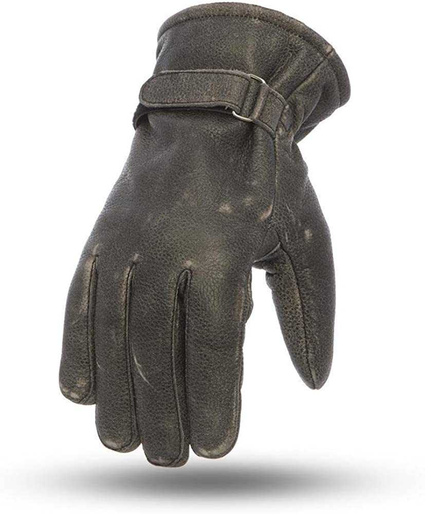 Mens Motorcycle Distressed Grey Premium Lined Waterproof leather Cinch gloves
