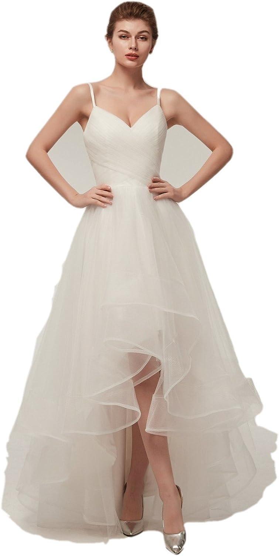 Darcy74Dulles Women's Sexy Wedding Ball Gown Elegant Spaghetti Straps Tulle Wedding Dress