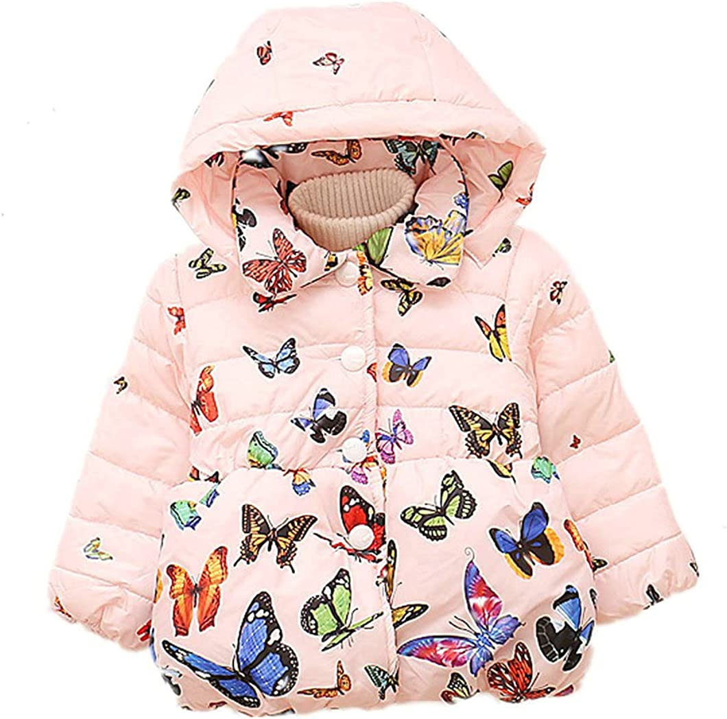 Autumn Winter Children's Cotton Padded Jacket Baby Girls Butterfly Printed Hooded Coat
