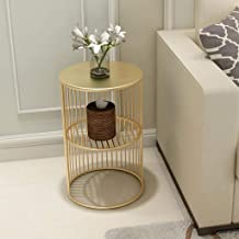Sofa Side End Table, Side Table Round End Table Metal Frame Marble Coffee Table Modern Tea Table Furniture for Living Room...
