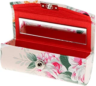 Dolity PU Leather Lipstick Case Holder with Mirror,Chinese Traditional Flower Design Makeup Jewelry Holder Box Lip Balm Carry Case Travel - Beige