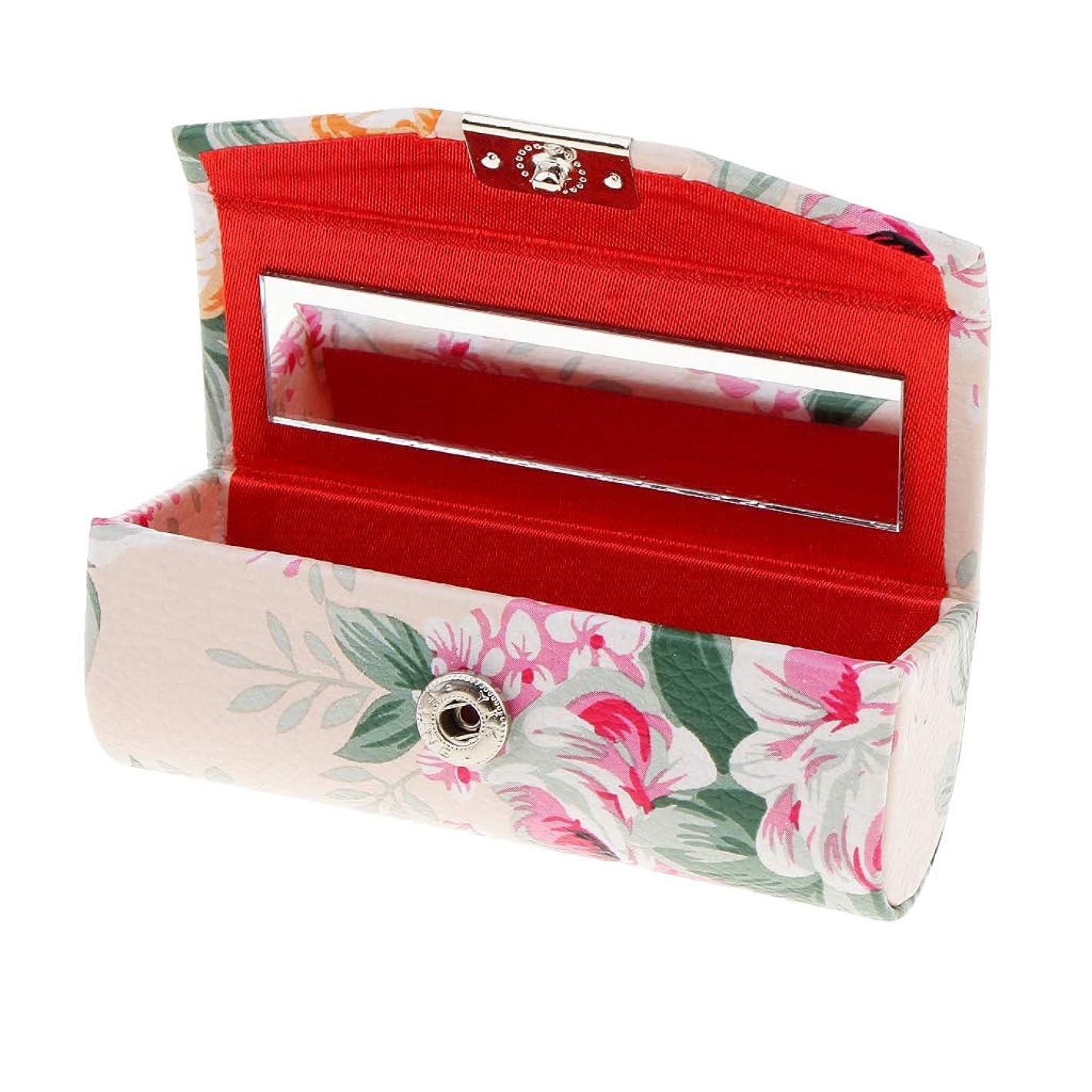 それに応じて支配的恩恵KESOTO リップスティックケース ミラー付き 革製 宝石 メイクアップ 口紅 メイクアップ 収納ホルダー  5色選べ - ベージュ