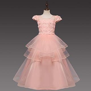 Vestido de princesa de las niñas Vestidos for niña de color sólido falda de la muchacha de los niños anfitrión de la demos...