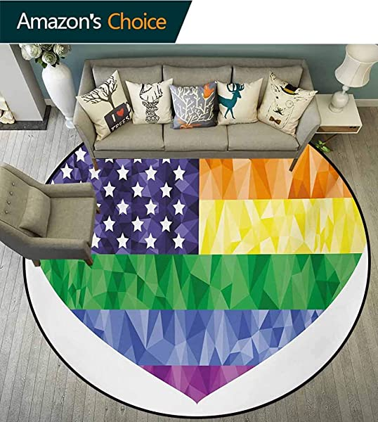 RUGSMAT Pride Round Rug Big Heart Shape And American USA Flag Rainbow With Low Poly Art Effects Gay Rights Carpet Door Pad For Bedroom Living Room Balcony Kitchen Mat Diameter 35 Inch