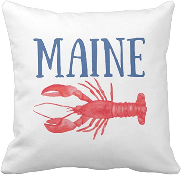 TORASS Throw Pillow Cover Red Lobsters Watercolor Maine Seafood Decorative Pillow Case Home Decor Square 18 X 18 Inch Pillowcase