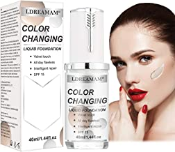 Liquid Foundation Cream,Flawless Foundation,Warm Skin Tone Flawless Colour Changing Foundation Makeup,Concealer Cover Cream,Base Nude Face Moisturizing Liquid Cover Concealer for Women Girls