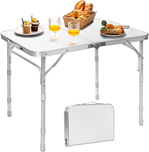 2021 Giantex Folding Table Portable Camping Table W/3 Adjustable Heights, Aluminum Lightweight sale Picnic Table W/Carrying Handle for Outdoor Cooking Picnic Camping Party BBQ (31.5''L discount x 24''W x 26''H) online sale