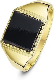 Theia Sortija de Sello para Caballeros en Oro Amarillo de 9k, Forma Cuadrada, Montada con Piedra Hematita o Ónix, Gris de 10x10mm