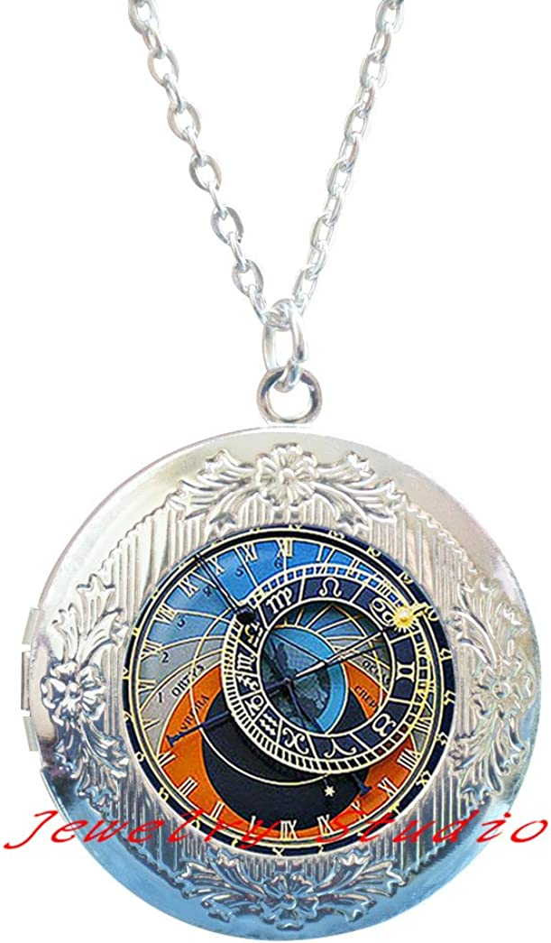 Charming fashion Locket Necklace,Astrology Clock Locket Pendant Astrology Clock Locket Necklace Astronomy jewelry, birthday gift bronze plated,christmas gift-HZ00120