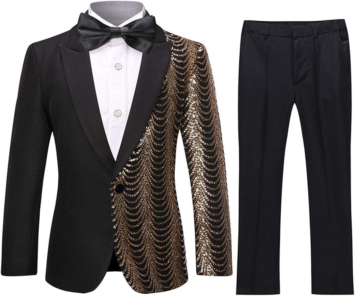 Boys Tuxedo Suit Shiny Fashion Dress 2 Pieces Blazer Pants Sequines