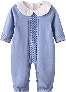 Baby & Little Boy Girl Sweet Long Sleeve Peter Pan Collar Knit Sweater Romper Outfit Clothes Twin Baby Clothing Jumpsuit Boutique 0-18M
