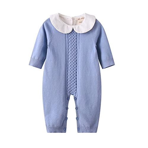 c544d6b92082 Baby Boy Girl Long Sleeve Peter Pan Collar Knit Romper Newborn Boy Outfit  Clothes Twin Baby